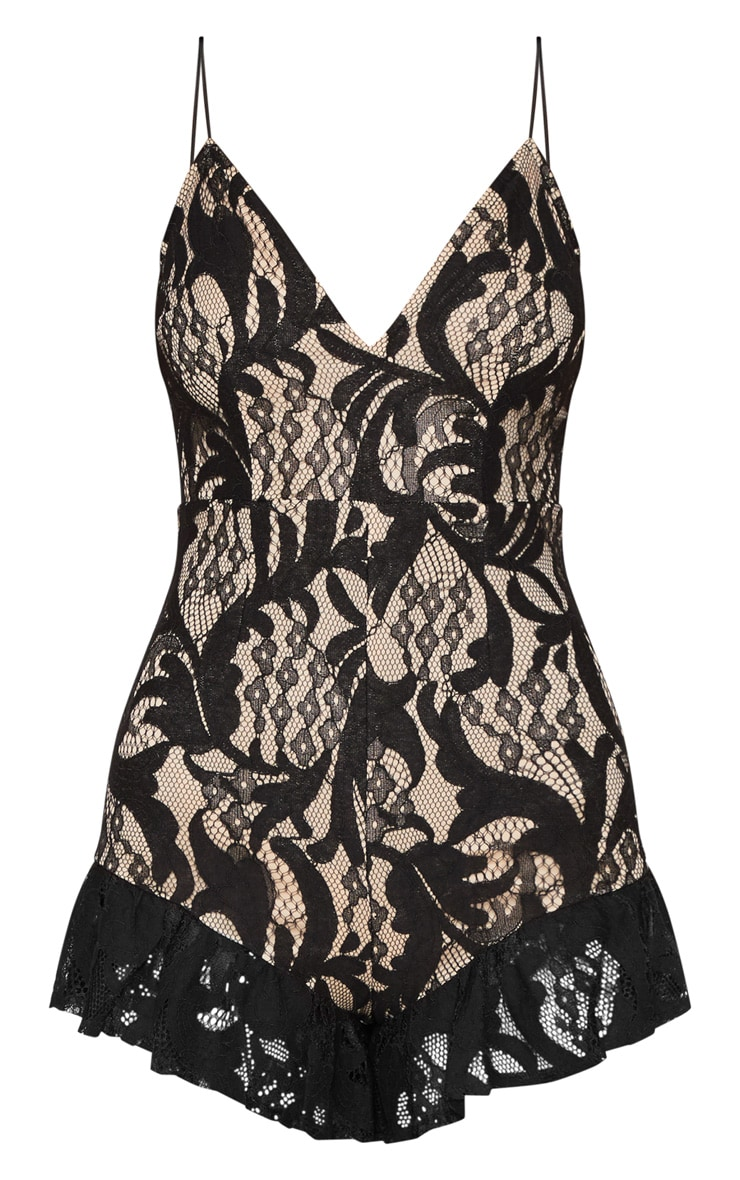 Black Lace Strappy Pointed Ruffle Hem Romper 3