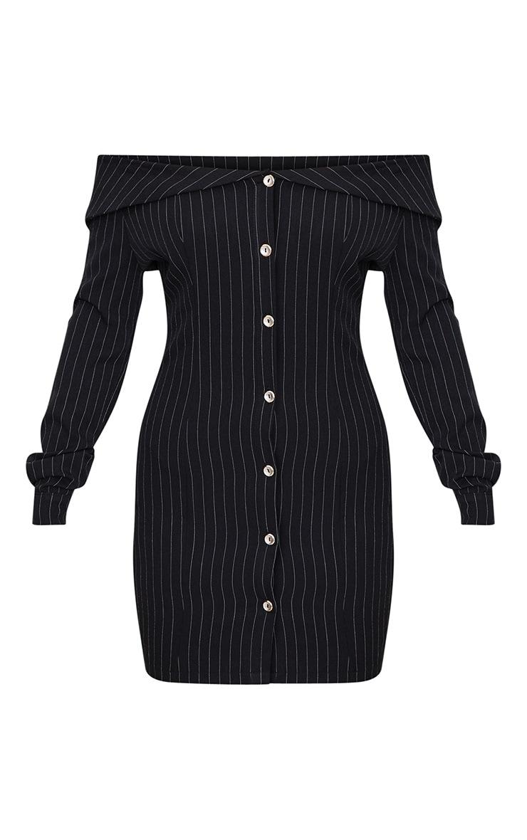 Black Striped Bardot Button Detail Bodycon Dress 3