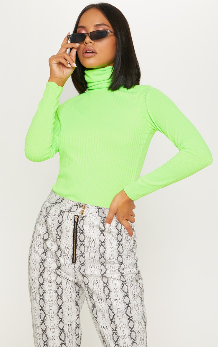 Neon Lime Rib Roll Neck Long Sleeve Top 1