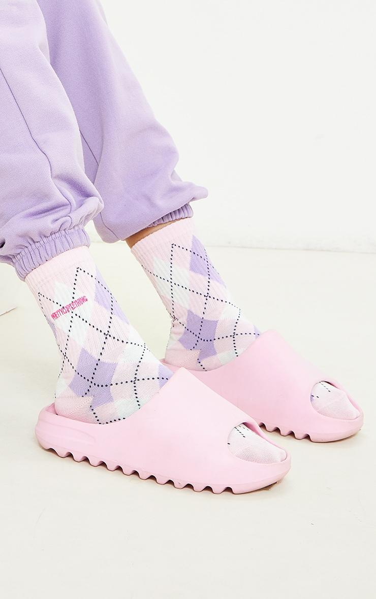 PRETTYLITTLETHING Pink Argyle Socks 1
