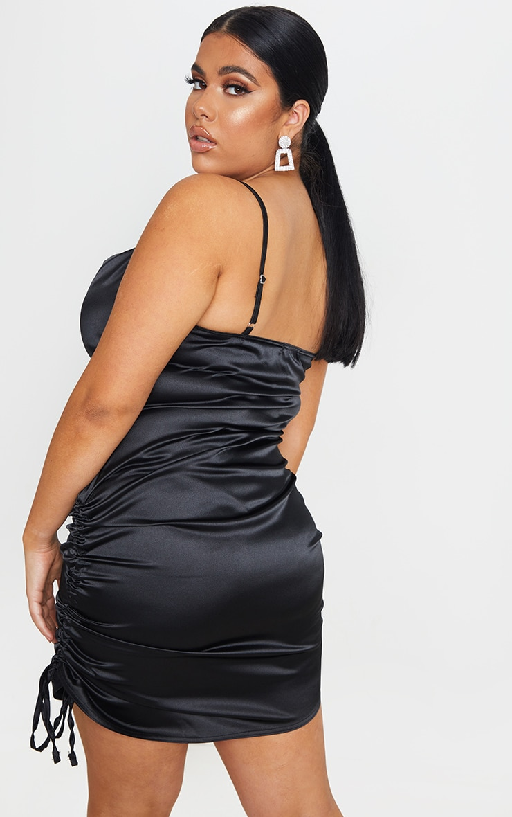 Plus Black Satin Cowl Ruched Side Bodycon Dress 2