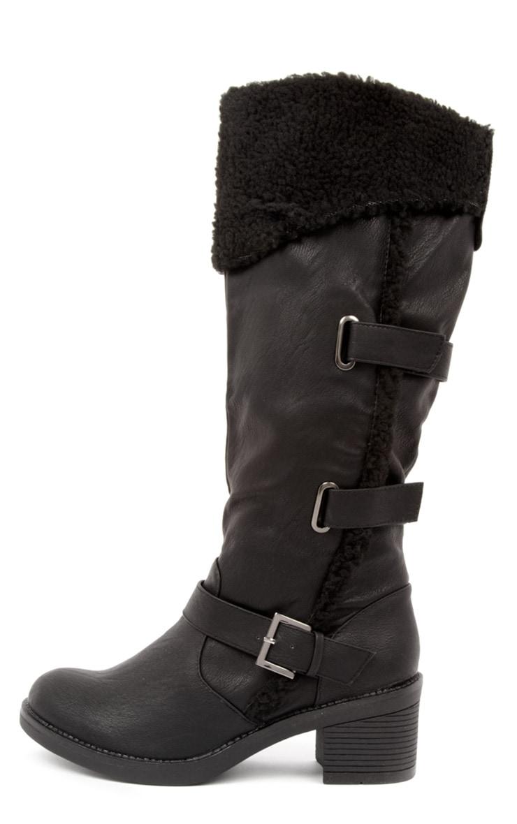 Helina Black Shearling Heeled Biker Boots 1