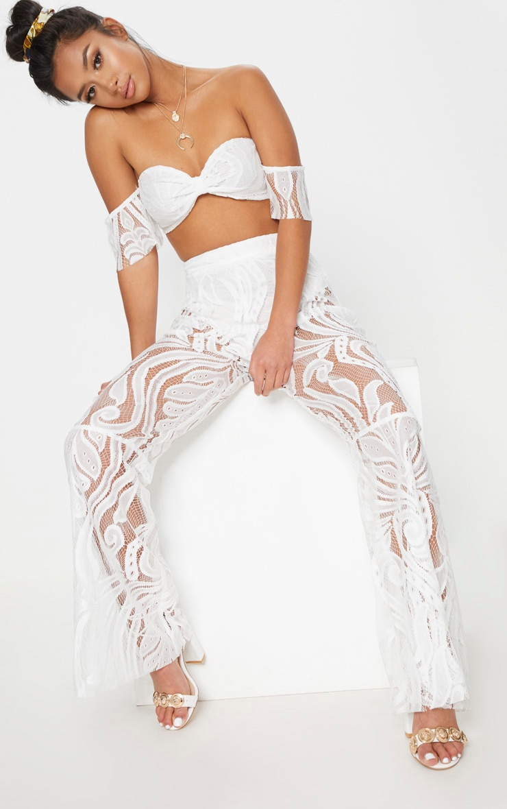 Petite White Lace Bardot Crop Top 1