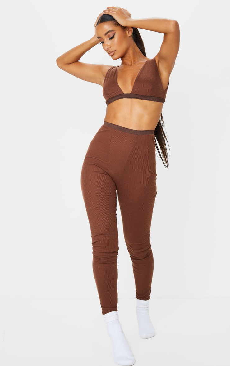 Chocolate Brown Ribbed High Waist Leggings 1