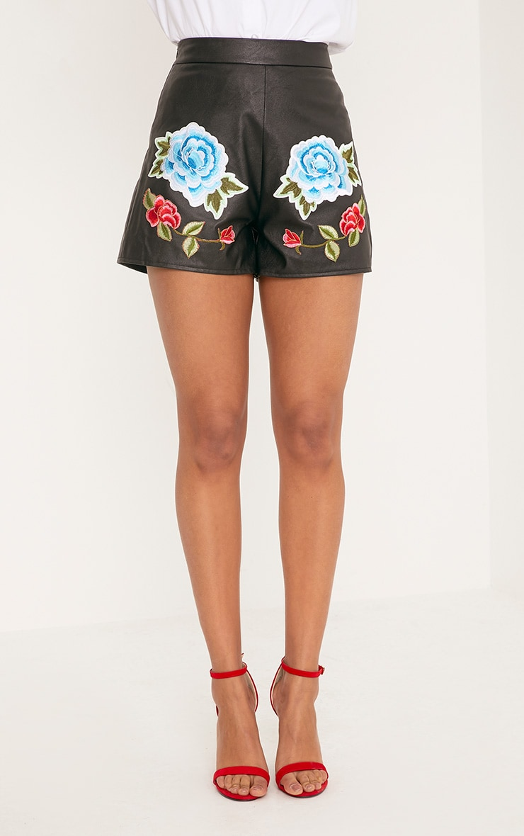 Mariam Black Faux Leather Rose Embroidery Shorts 2