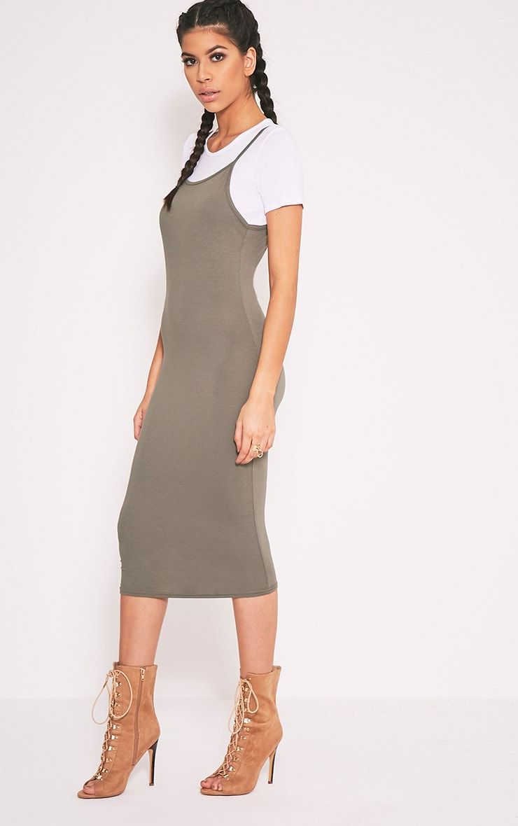 2 Pack Basic Khaki T Shirt and Midi Dress 3