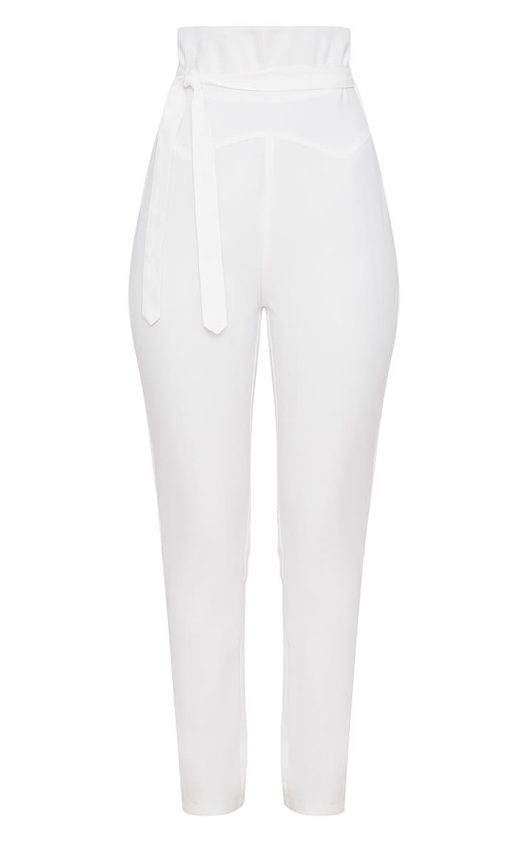 White High Waisted Tie Detail Slim Leg Trousers 3