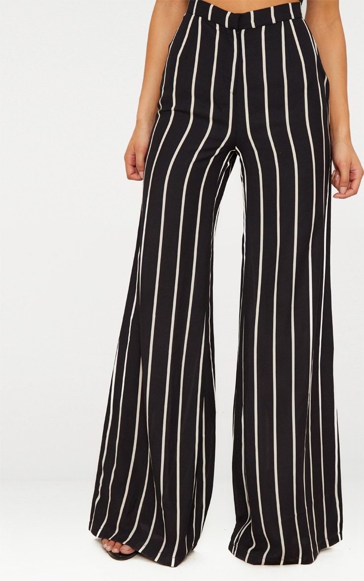 Black Striped Wide Leg Trousers 2