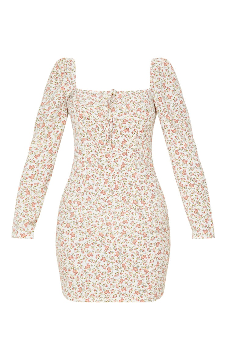 Cream Floral Square Neck Shift Dress  3