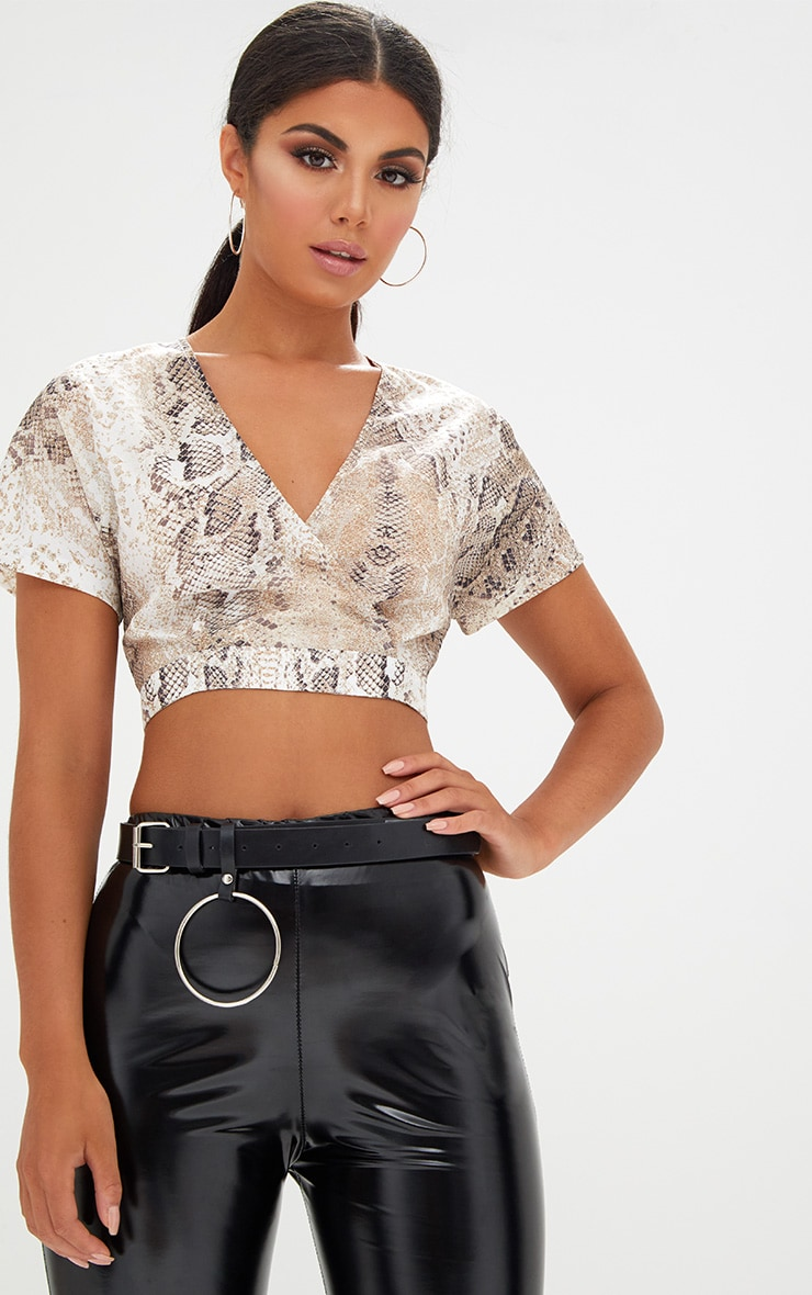 Cream Snake Print Shortsleeve Crop Blouse 1