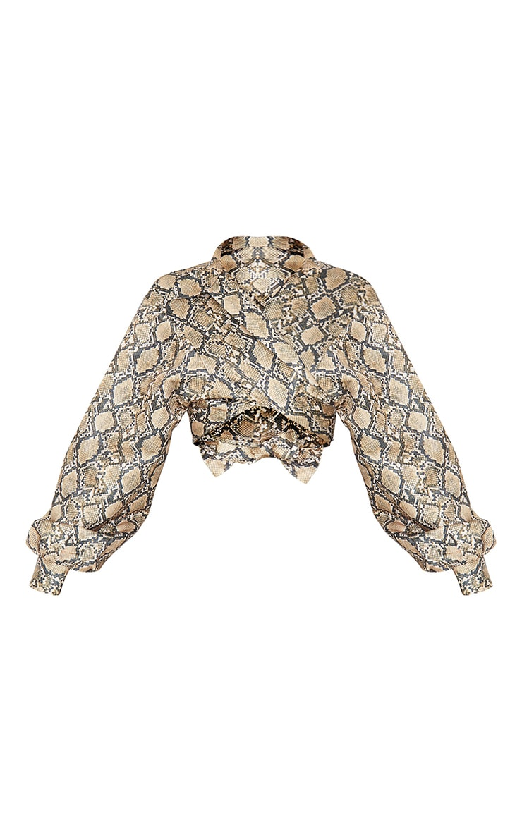 Brown  Snake Print Satin Balloon Sleeve Tie Front Shirt 5