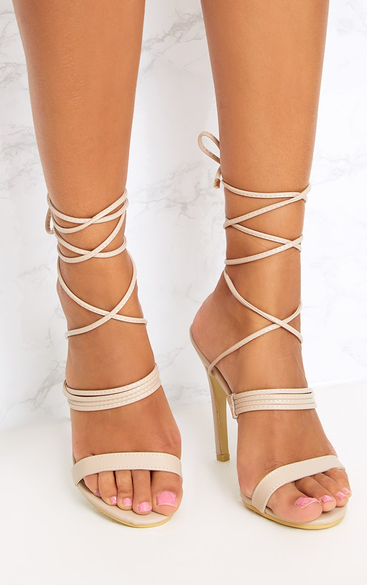 Nude Thin Strappy Lace Up Heels 1