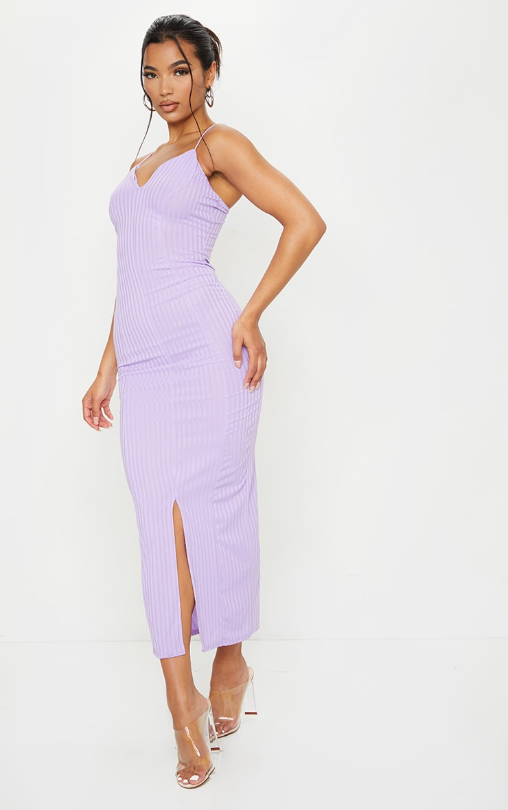 Lilac Strappy Plunge Ribbed Midaxi Dress 3