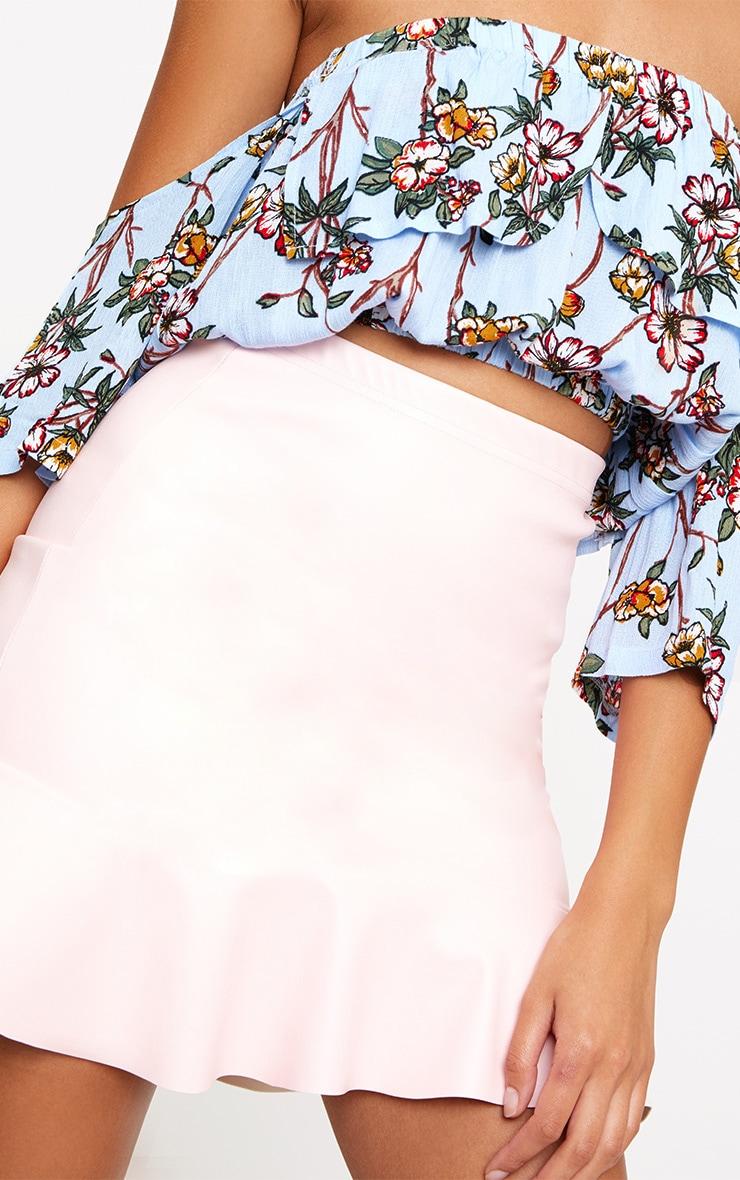 Sky Blue Floral Print Bardot Open Sleeve Crop Top  5