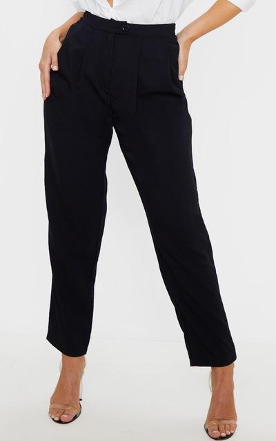 Black Woven Pleat Detail Cigarette Trouser