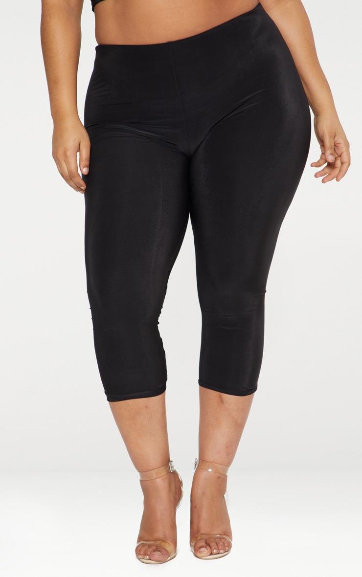 Plus Black Second Skin Slinky Cropped Leggings 2
