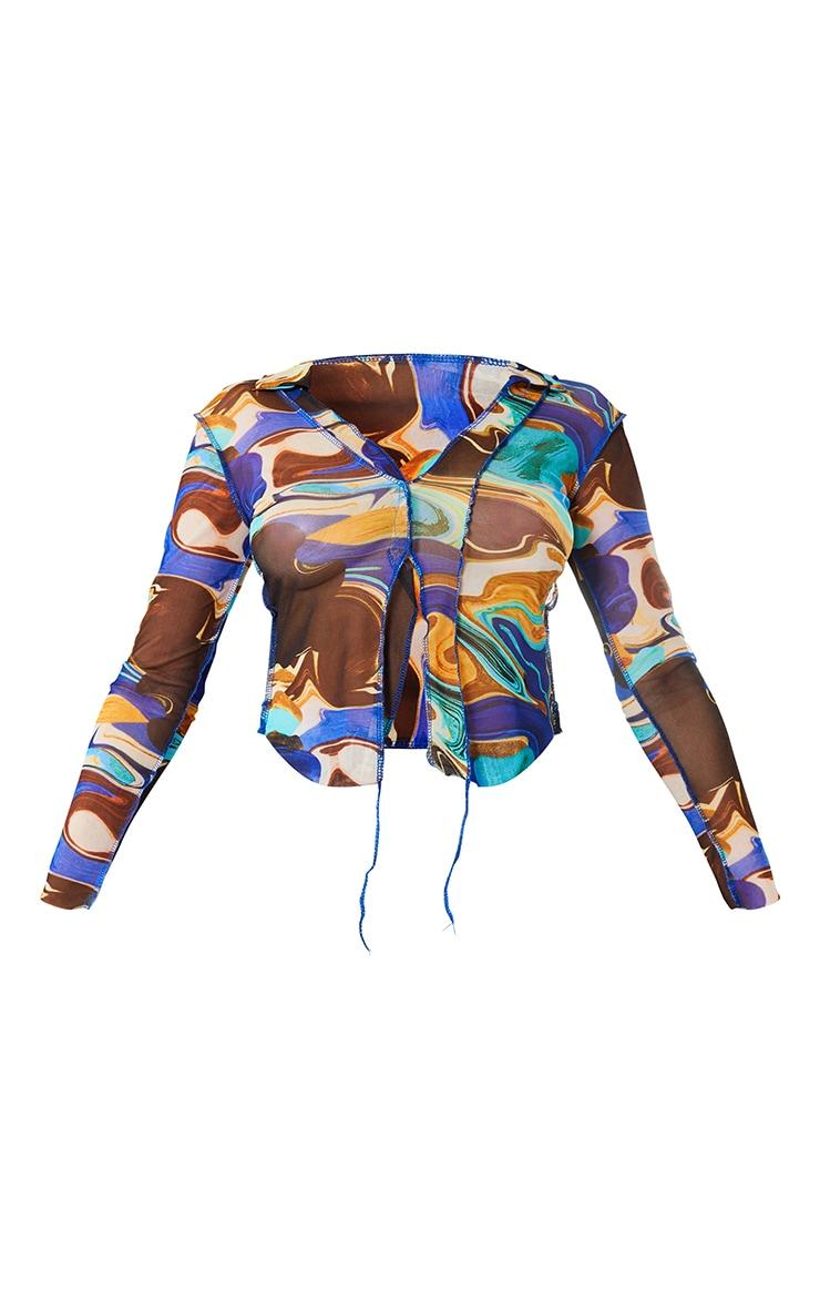 Blue Printed Mesh Contrast Seam Shirt 5