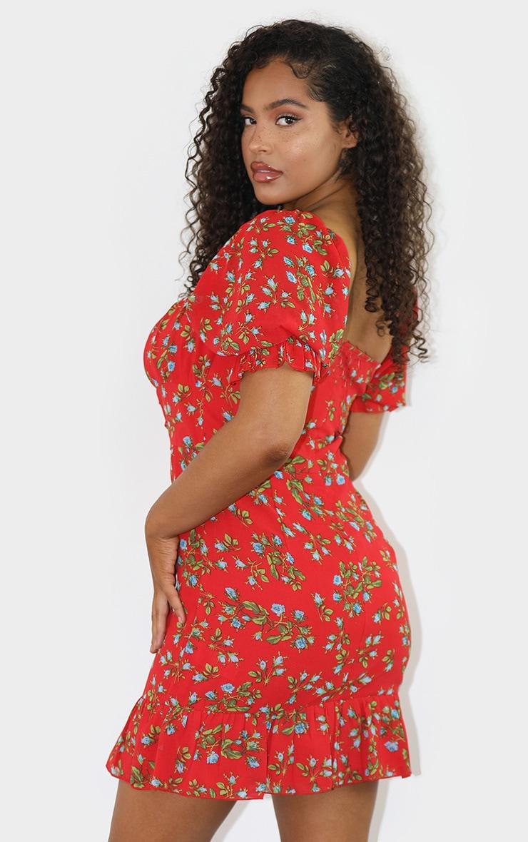 Red Floral Print Corset Detail Frill Hem Bodycon Dress 2