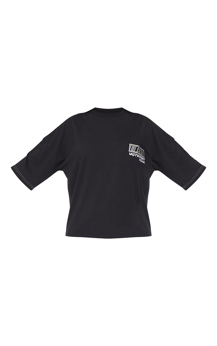 PRETTYLITTLETHING Black Moto Embroidered Oversized T Shirt 5