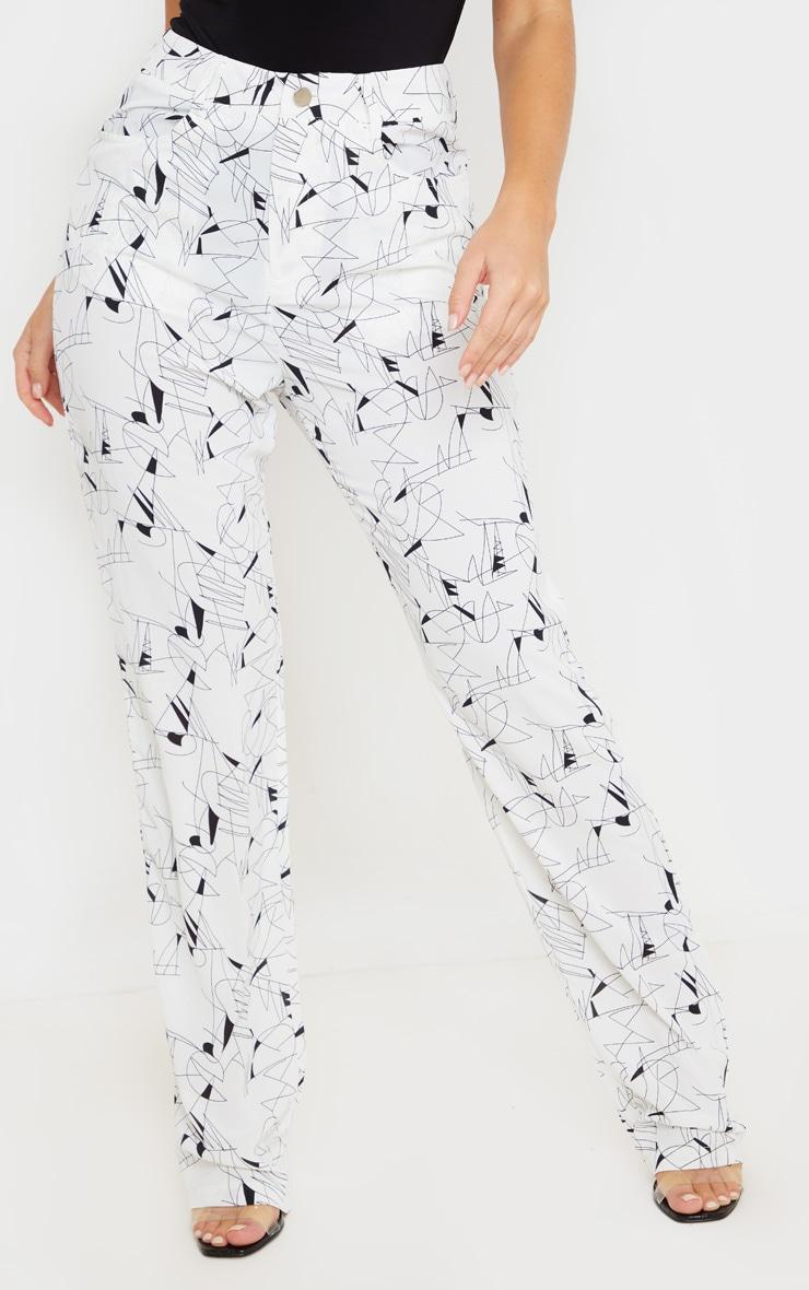 White Printed Straight Leg Trouser 2