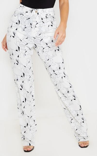 White Printed Straight Leg Trouser
