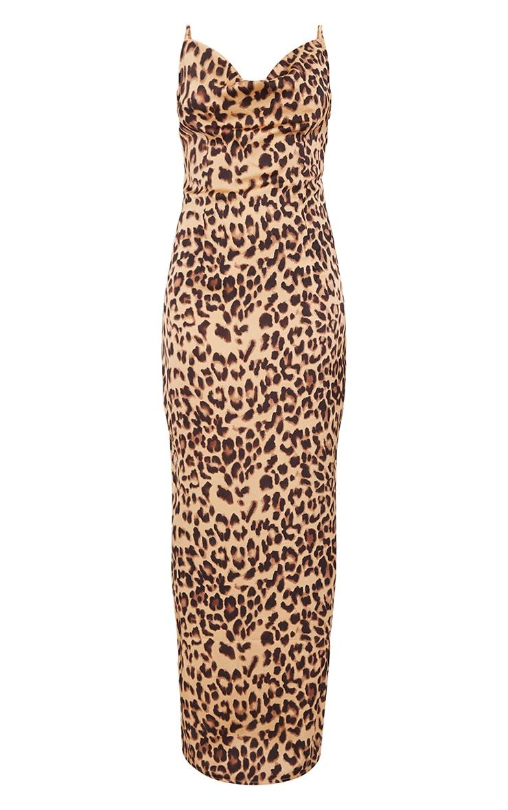 Tan Leopard Print Cowl Neck Strappy Maxi Dress 5