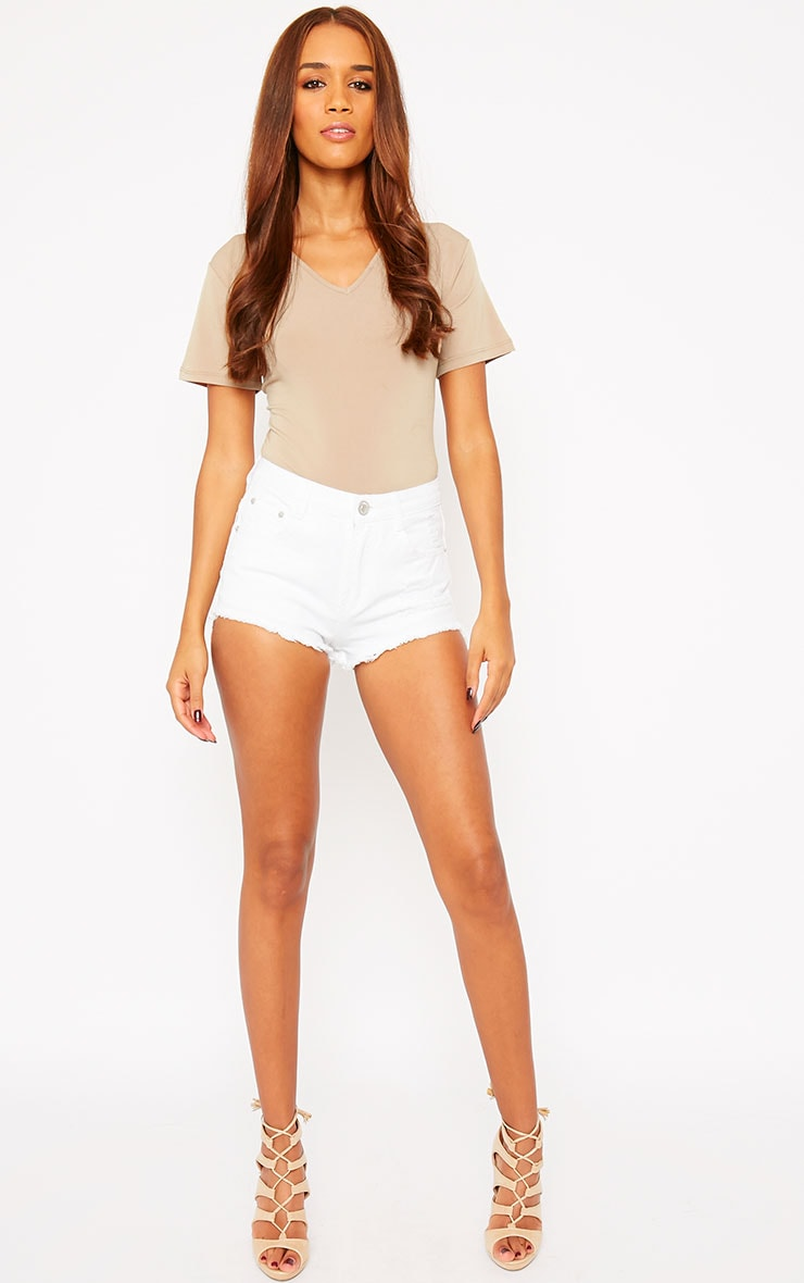 Lor White Frayed Denim Shorts 6