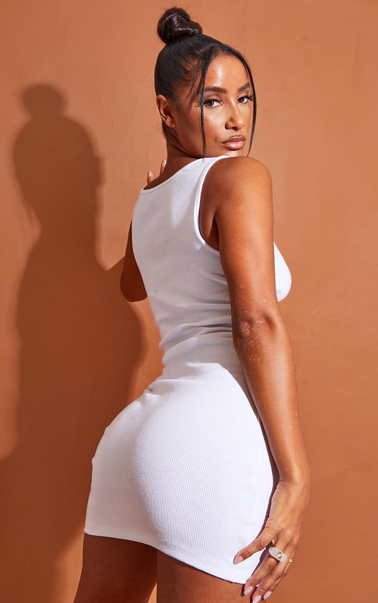 White Rib Scoop Neck Mini Dress 3