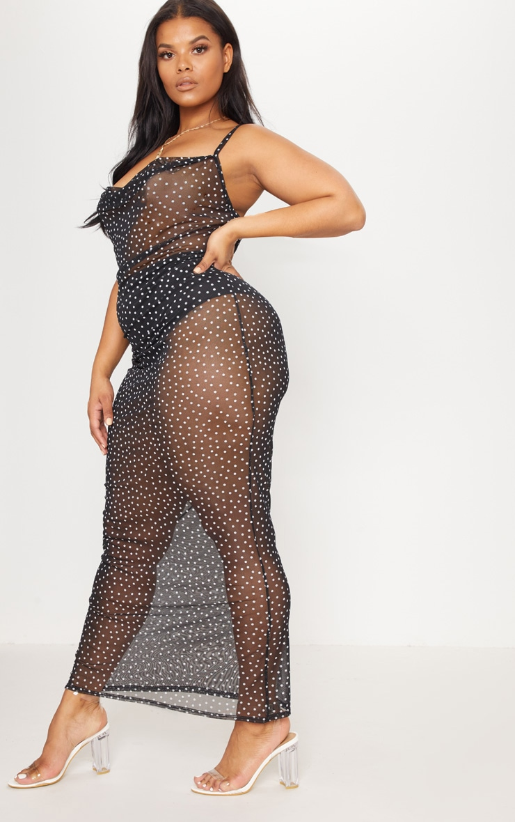 Plus Black Mesh Polka Dot Midaxi Dress 4