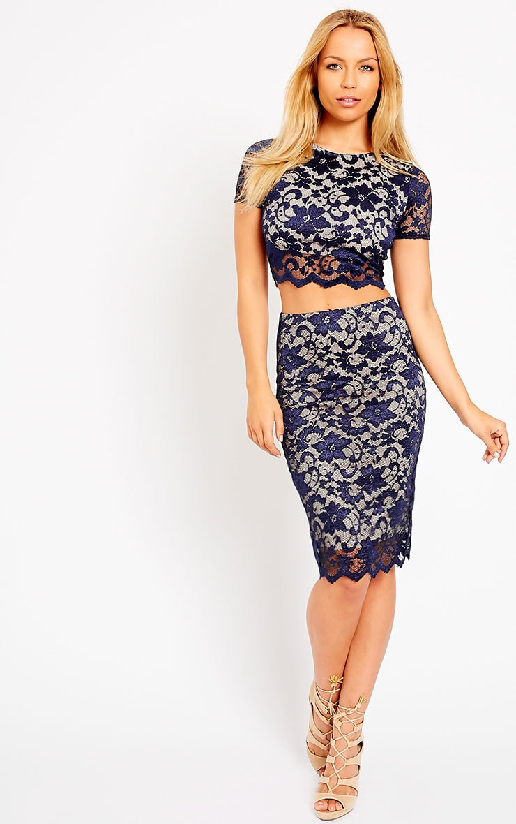 Rez Navy Scallop Lace Crop Top 5