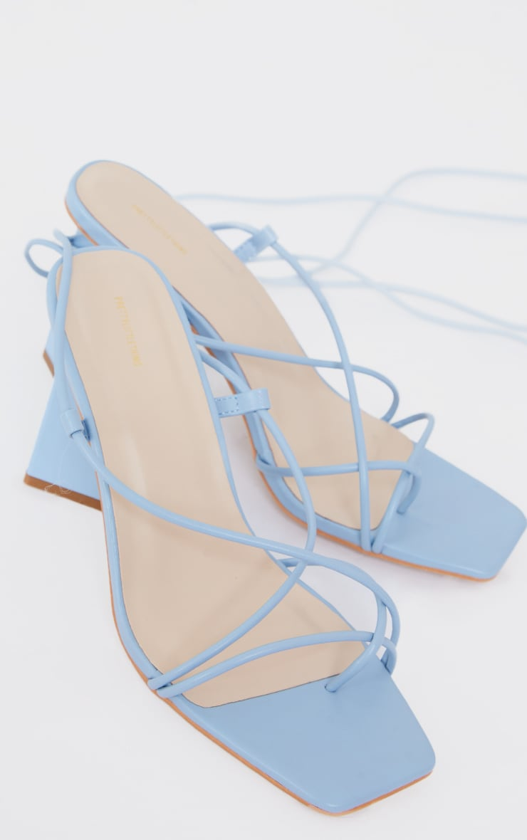 Blue Toe Loop Lace Up Square High Block Heels 3