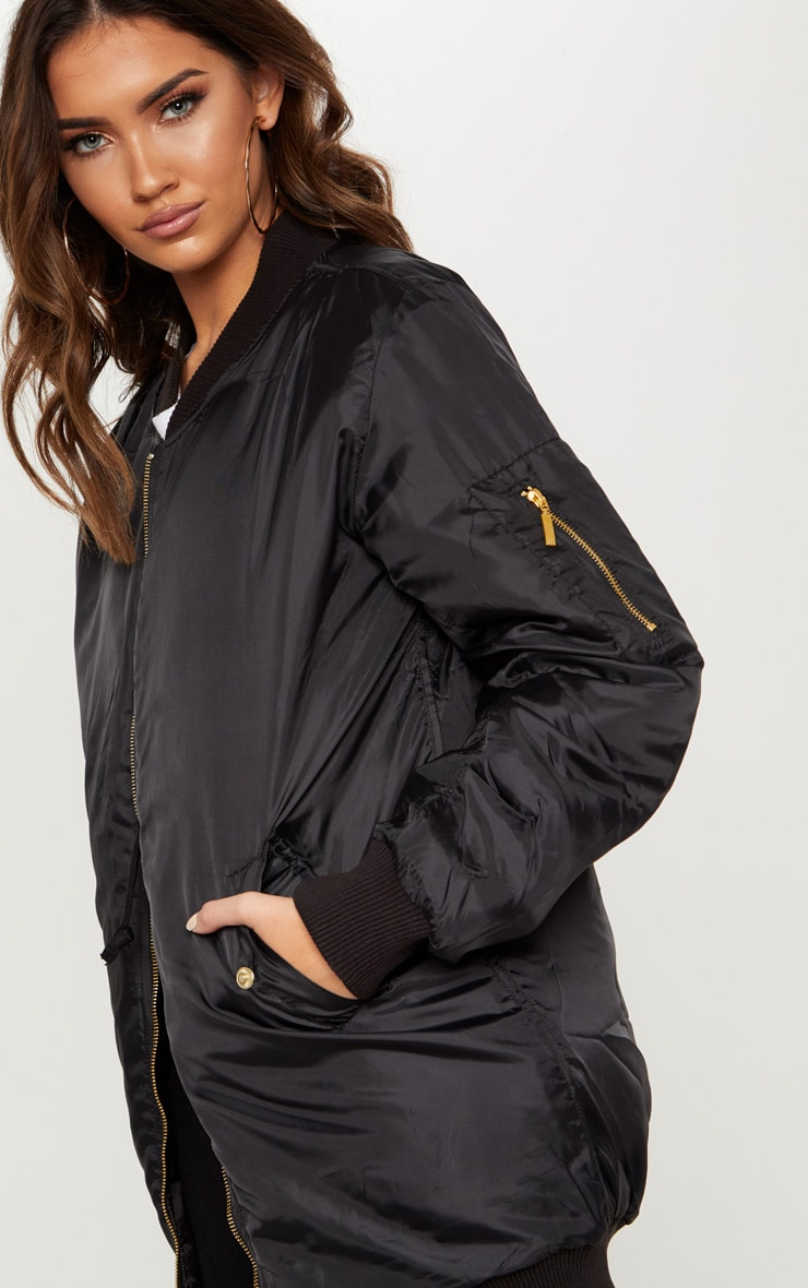 Shelbi Black Longline Bomber Jacket 6