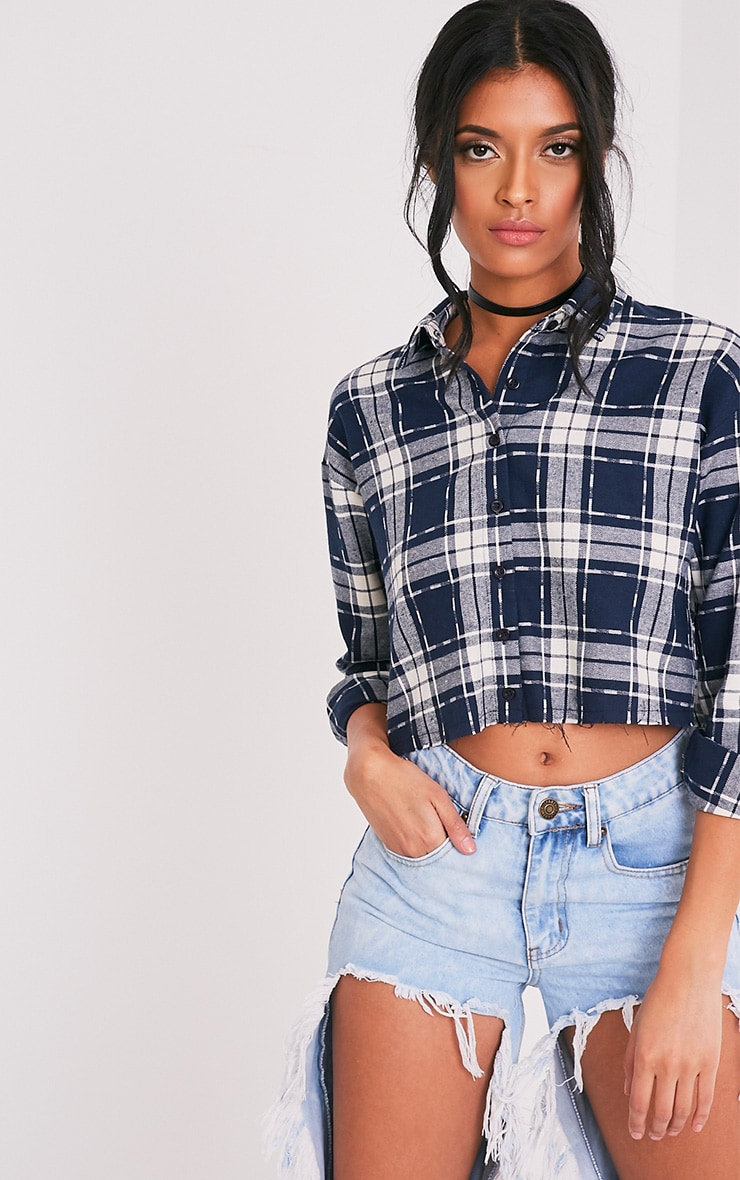 Giselle Navy Checked Raw Hem Cropped Shirt 1