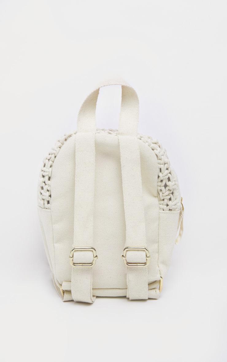 Natural Macron Cotton Mini Backpack 3