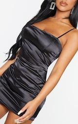 Petite Black Satin Strappy Straight Neck Bodycon Dress 5