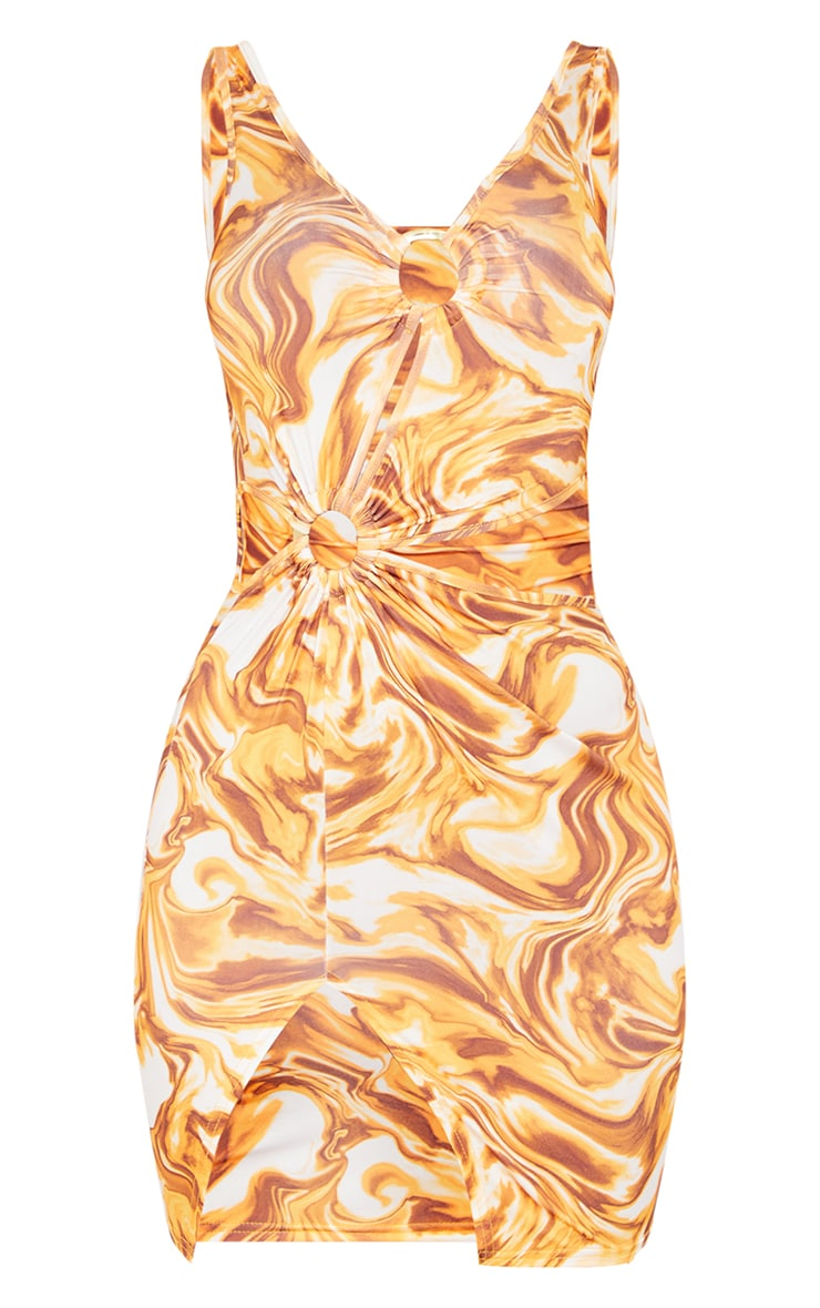 Orange Marble Print Slinky Ring Detail Cut Out Sleeveless Bodycon Dress 5