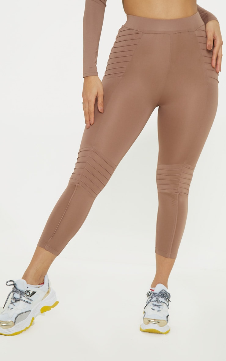 Mauve Ribbed Detail Gym Legging 2