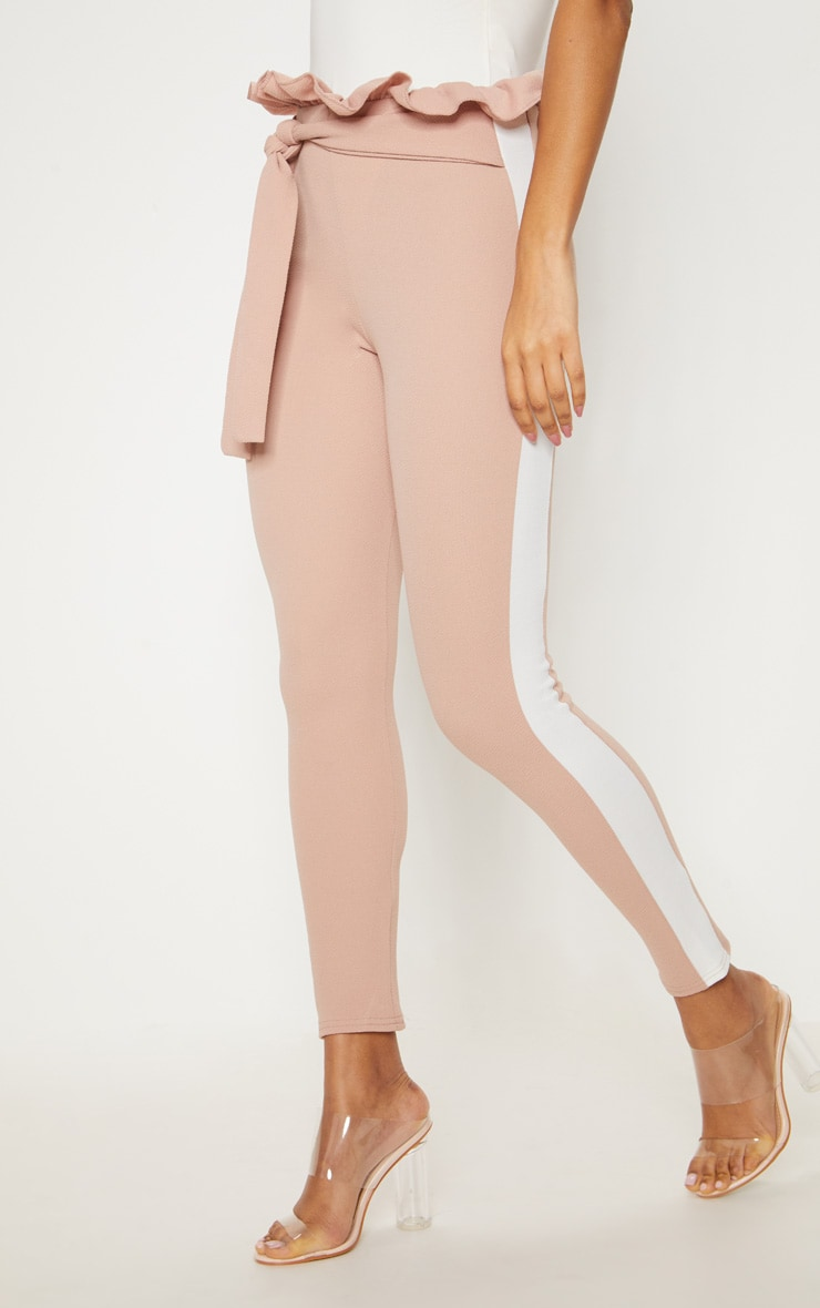 Stone Side Stripe Paperbag Skinny Trousers 2