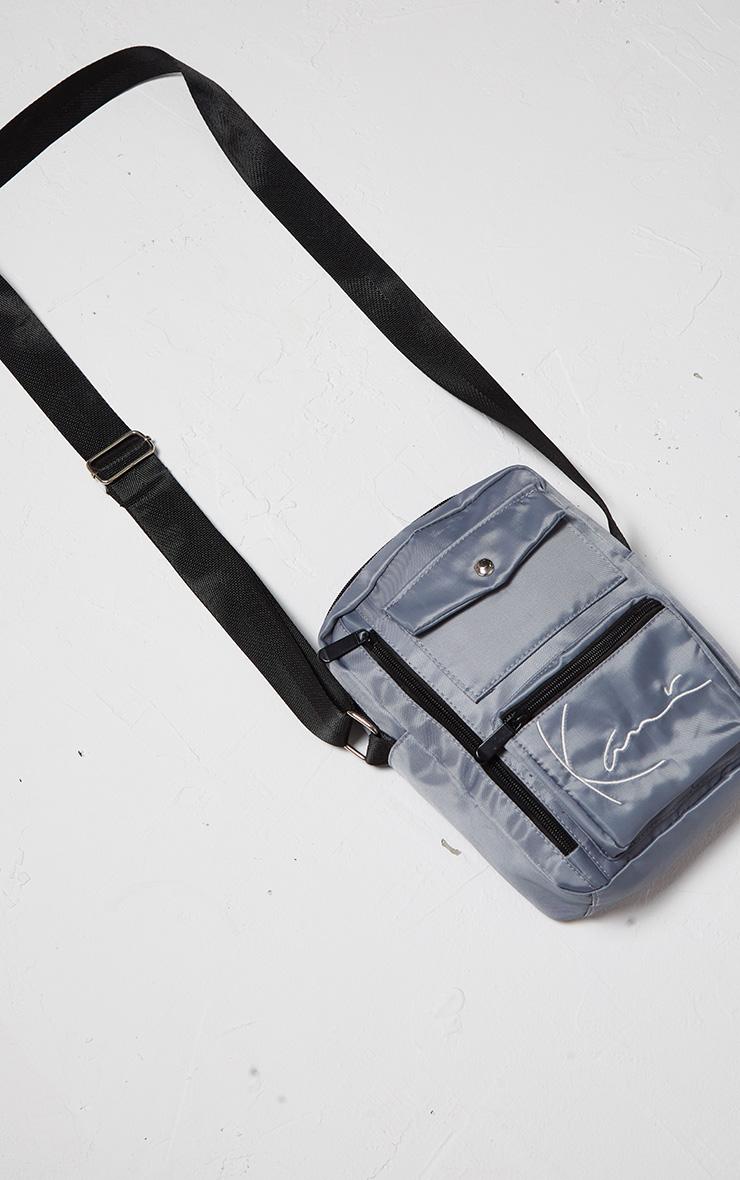 KARL KANI Ice Grey Zip Pocket Detail Shoulder Bag 3