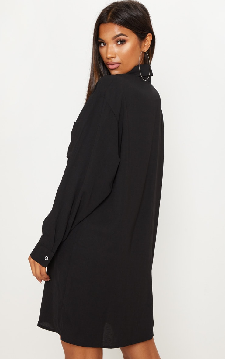 Black Oversized Boyfriend Shirt Dress 2
