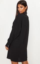 Black Oversized Boyfriend Shirt Dress 2