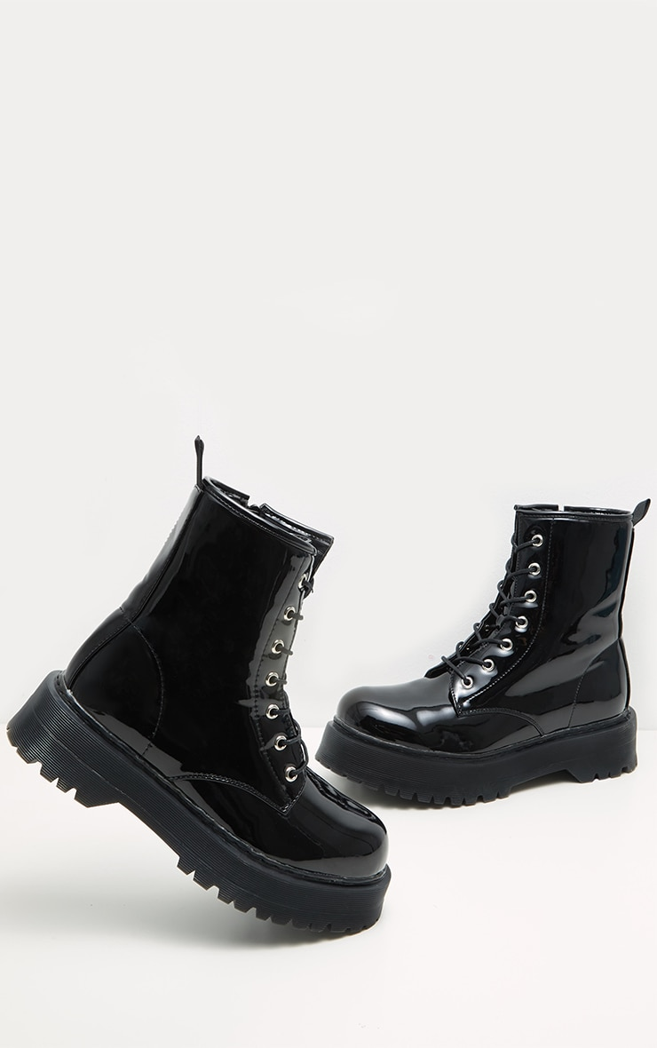 Black Patent Chunky Sole Lace Up Ankle Boot  3