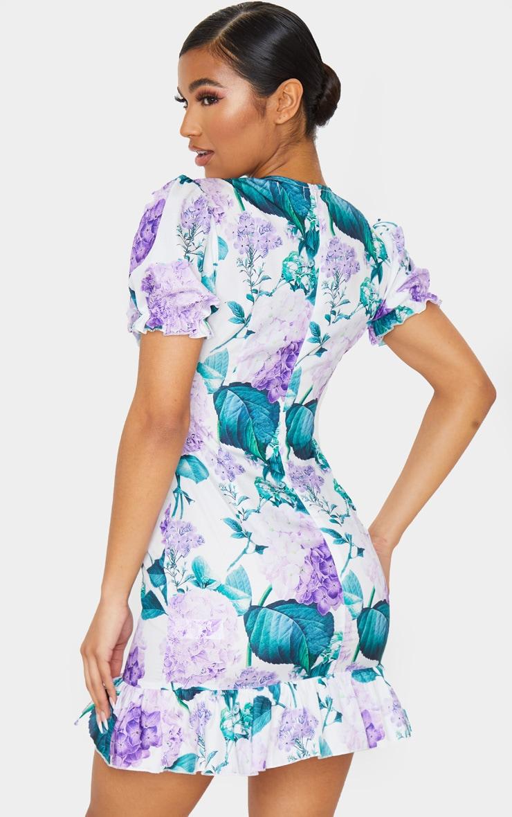 White Ditsy Floral Ruffle Detail Tea Dress 2