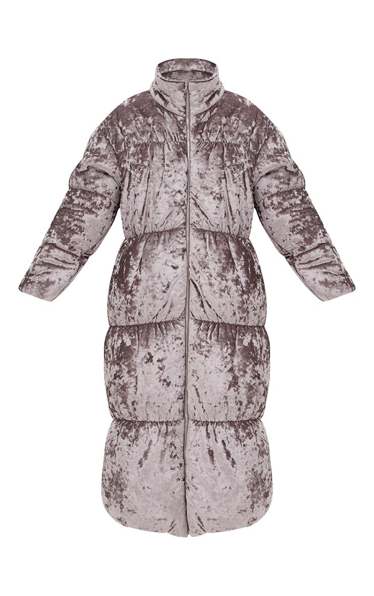 Grey Velvet Longline Puffer Coat 4