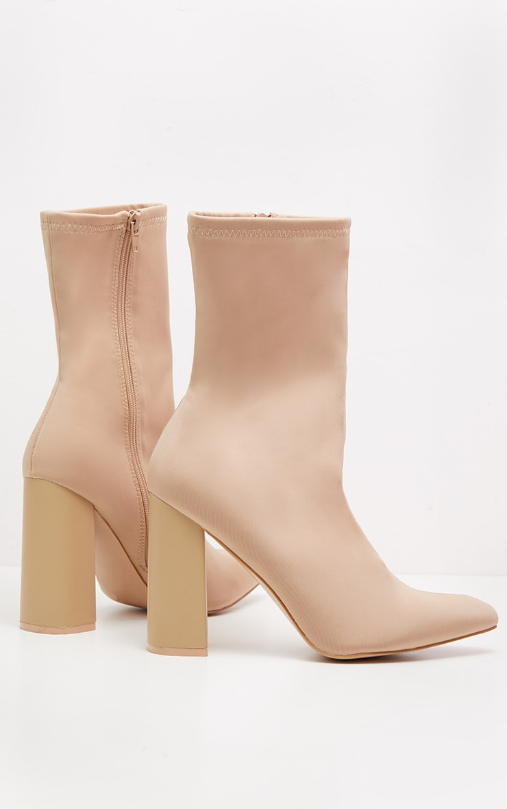 Beige Pointed Toe Lycra Sock Boot 3