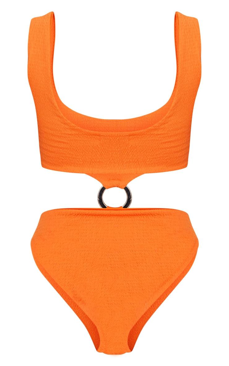 Maillot une pièce orange plissé avec anneau au milieu 7