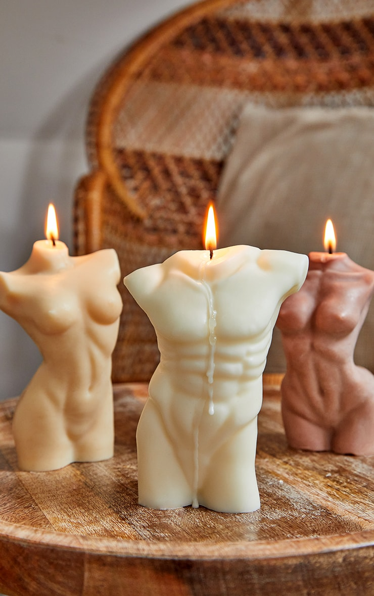 White Large Male Body Candle 14cm 1