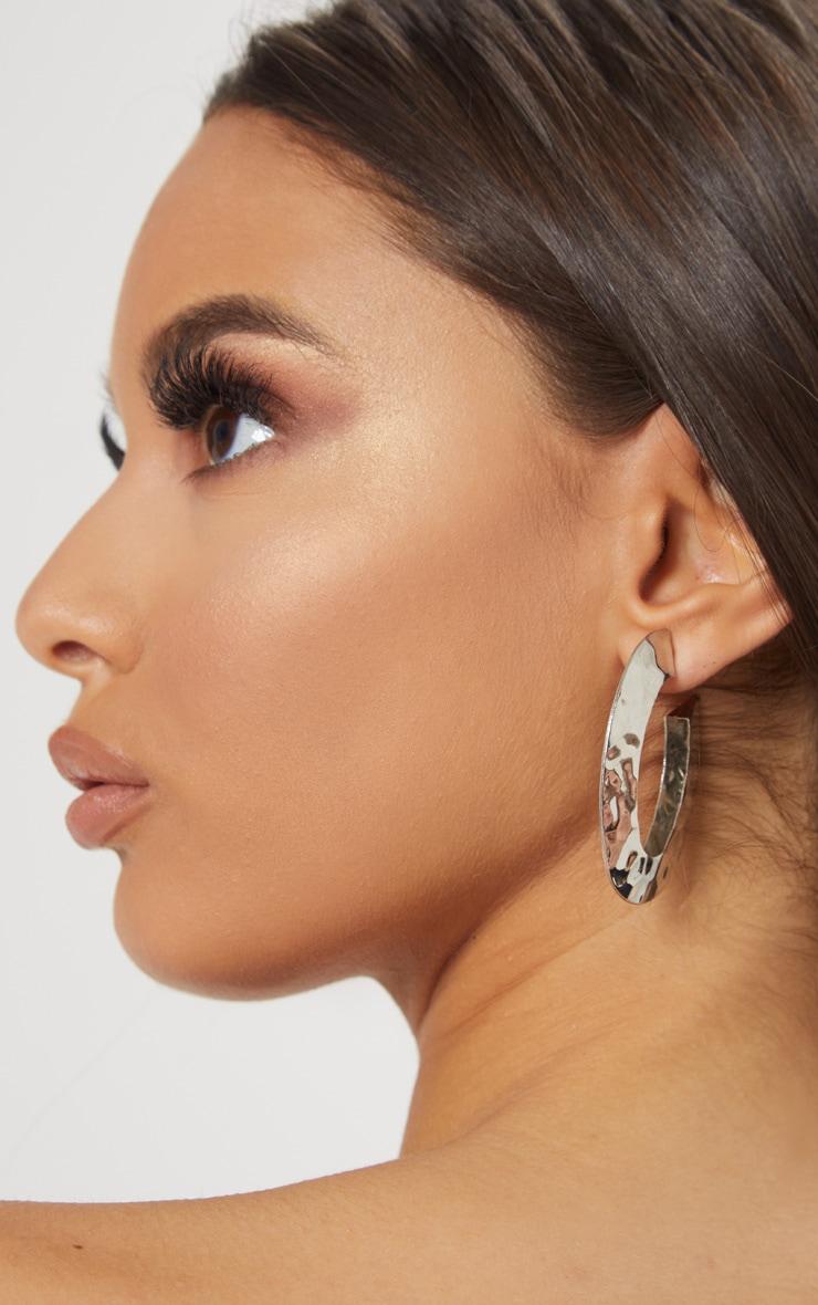 Silver Chunky Hammered Long Hoop Earrings