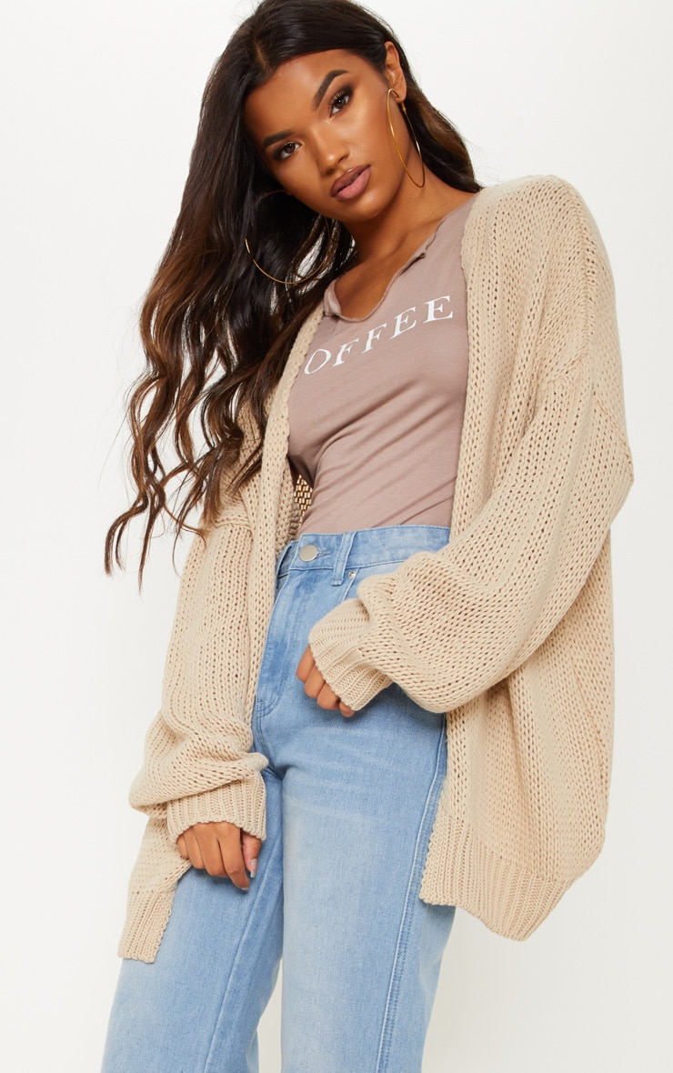 Camel Loose Knit Cardigan  4