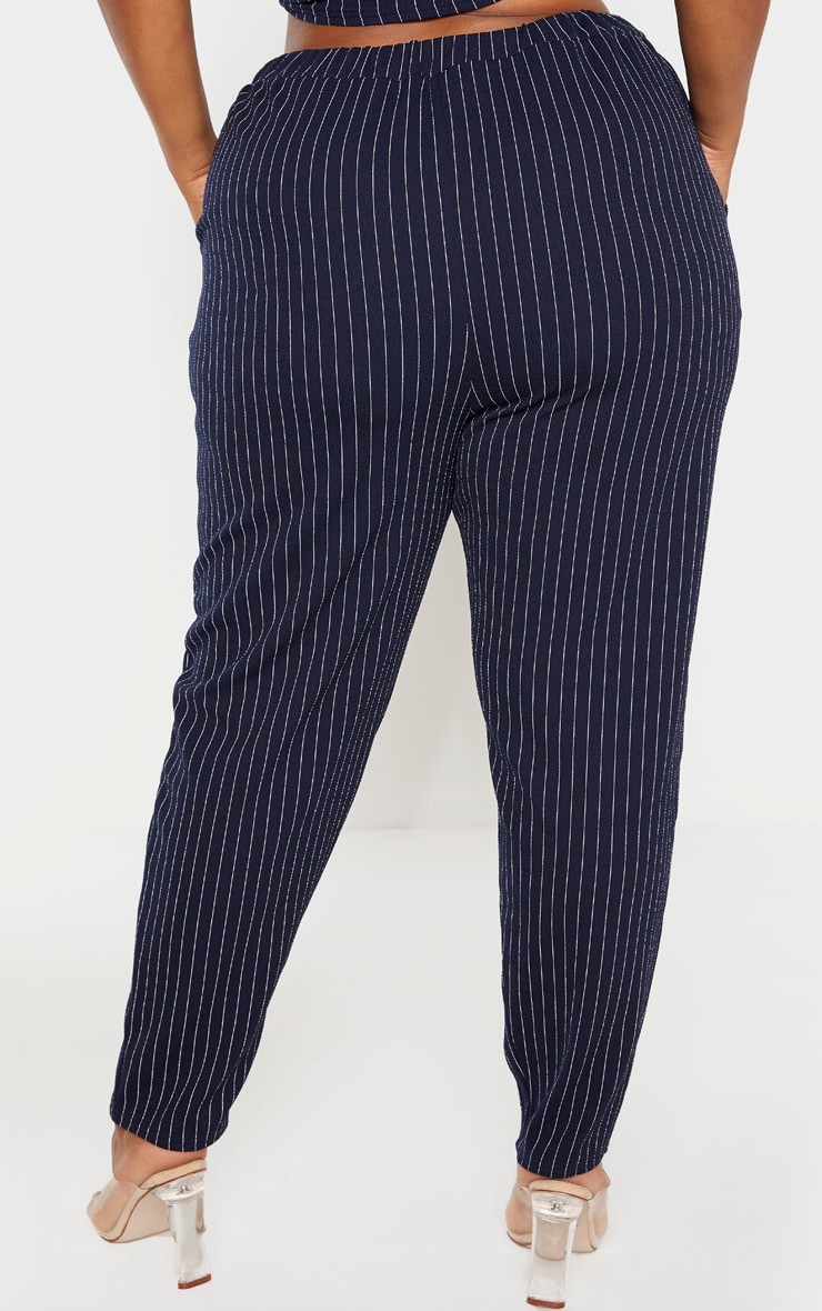 Plus Navy Pinstriped Straight Leg Pants  4